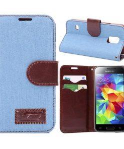 Samsung Galaxy S5 mini hoesje Jeans Style Licht Blauw.