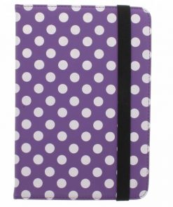 Samsung Galaxy Tab 4 7.0 Universele paarse polka dot design tablethoes met standaard