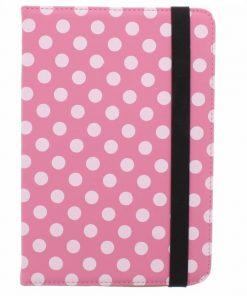 Samsung Galaxy Tab 4 7.0 Universele roze polka dot design tablethoes met standaard
