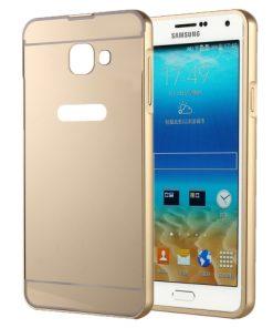 Samsung Galaxy A5 (2016) Acrylic Back Cover met Aluminium Bumper Goudkleurig