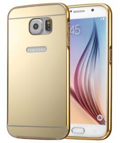 Samsung Galaxy S7 Acrylic Back Cover met Aluminium Bumper Goudkleurig