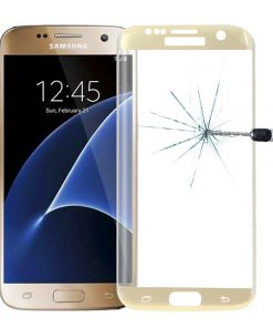 Full Screen Tempered Glass voor Samsung Galaxy S7 Edge Goudkleurig