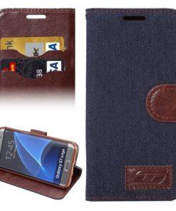 Samsung Galaxy S7 Edge Hoesje Jeans Style Donker Blauw
