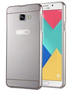 Samsung Galaxy A3 (2016) Acrylic Back Cover met Aluminium Bumper Zilverkleurig