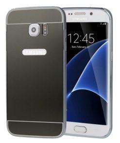 Samsung Galaxy S7 Edge Acrylic Back Cover met Aluminium Bumper Zwart