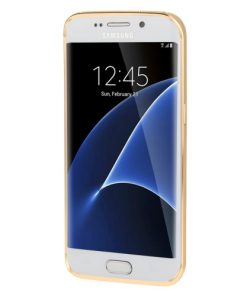 Samsung Galaxy S7 Edge Acrylic Back Cover met Aluminium Bumper Goudkleurig