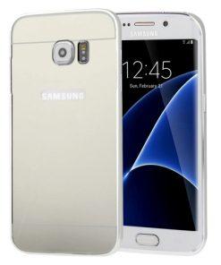 Samsung Galaxy S7 Edge Acrylic Back Cover met Aluminium Bumper Zilverkleurig