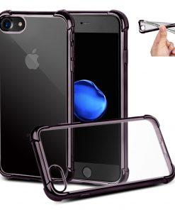 Apple iPhone 7+ Zwart Transparante Shock Proof Flexibele Cover