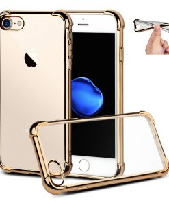 Apple iPhone 7 Goud Transparante Shock Proof Flexibele Cover