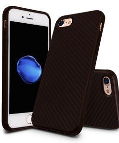 Carbon Look TPU Hoesje Apple iPhone 7 Donker Bruin