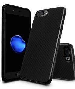 Carbon Look TPU Hoesje Apple iPhone 7 Plus Zwart