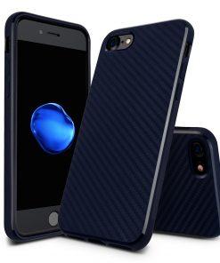 Carbon Look TPU Hoesje Apple iPhone 7 Plus Donker Blauw
