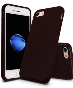 Carbon Look TPU Hoesje Apple iPhone 7 Plus Bordeaux Rood