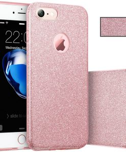 Apple iPhone 7 Plus 3 in 1 Glitter Hoesje Roze-0