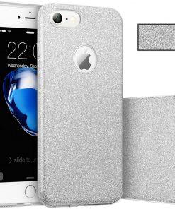 Apple iPhone 7 3 in 1 Glitter Hoesje Zilver-0