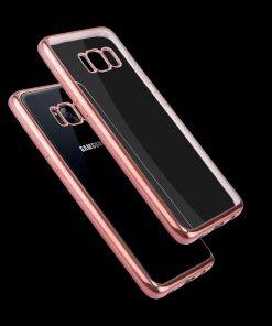Samsung Galaxy S8 Transparant Bumper Hoesje Roze Goudkleurig 3